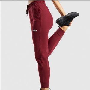 Gymshark Maroon Jogger Pants High Waisted Gym Workout Lounge Pockets Sz Large Lg